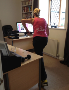 janey working out in her office